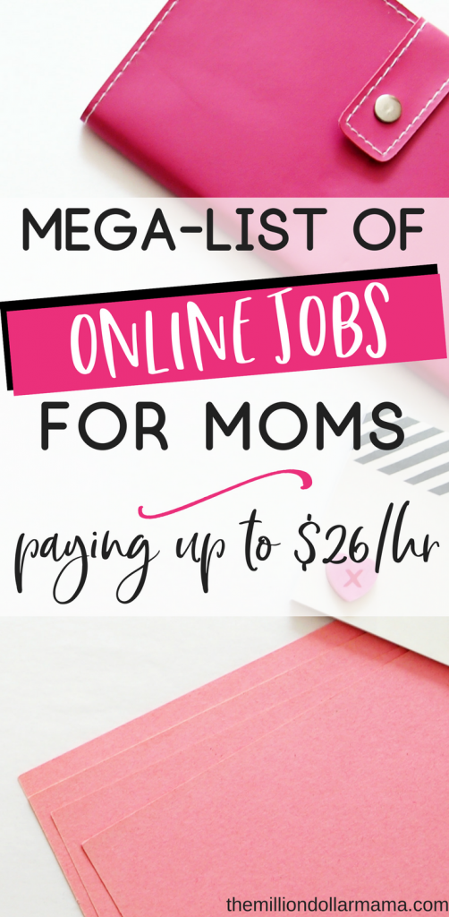 This mega-list of online jobs for moms who want to work from home is one of the most in-depth I've seen. So many awesome ways to work at home and make extra money, or even build a career from home with kids!