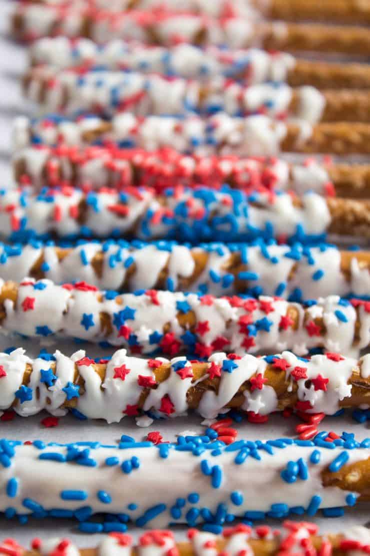 red white and blue pretzels