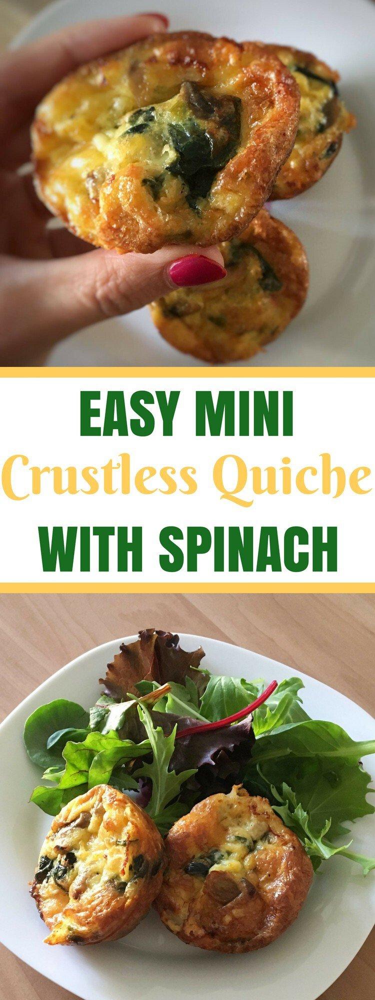 Mini Crustless Quiche With Spinach Recipe
