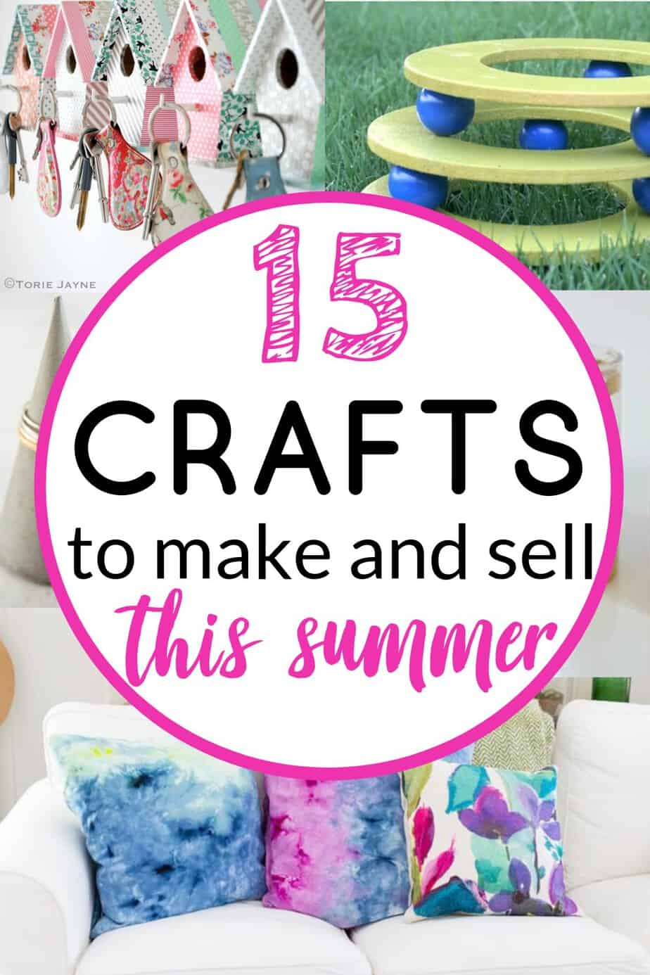Crafts to make and sell this summer - These 15 crafts are easy and inexpensive to make and sell for extra cash this summer. #craftsforadults #craftstomakeandsell