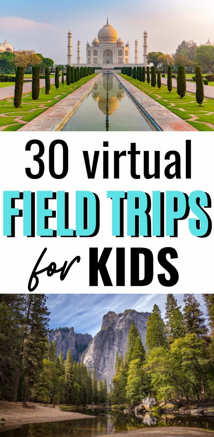 30 Virtual Field Trips for Kids to Take for Free When You're Stuck At Home! #homeschool #homeschoolideas #virtualfieldtrips
