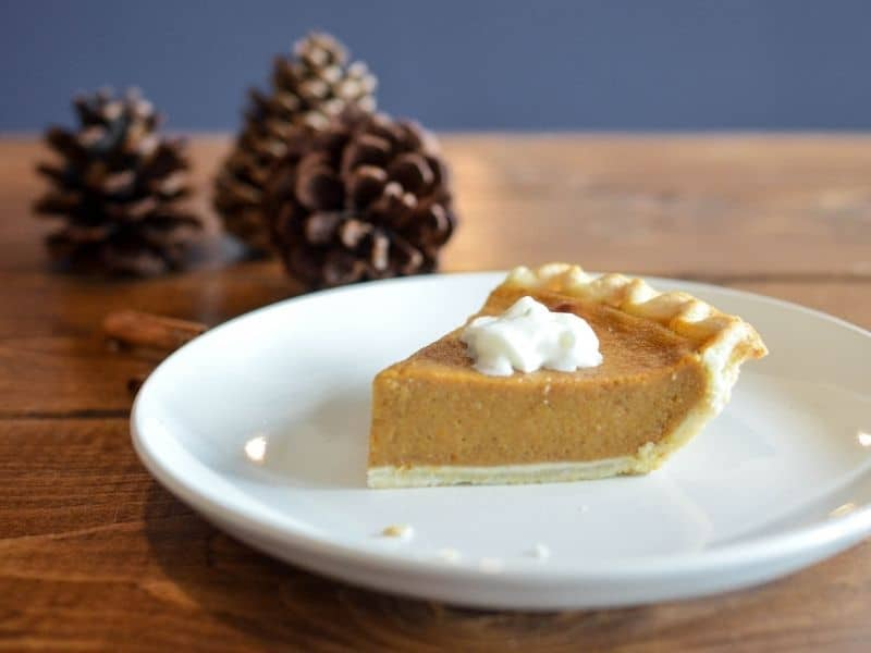 a piece of pumpkin pie on a plate with pine cones in the background