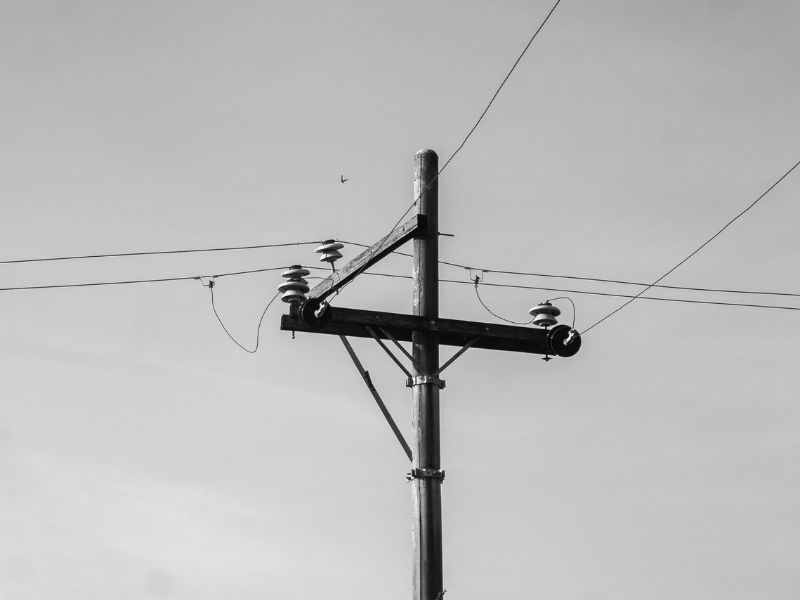 telephone pole with telephone wires