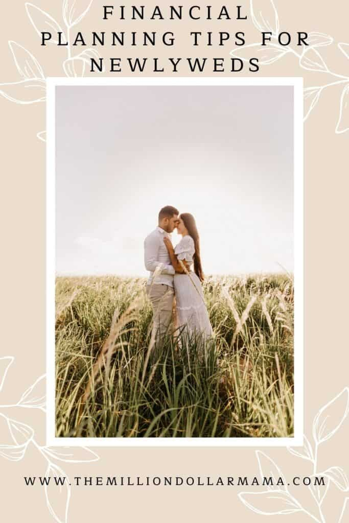 a couple standing in a field of grass with text overlay