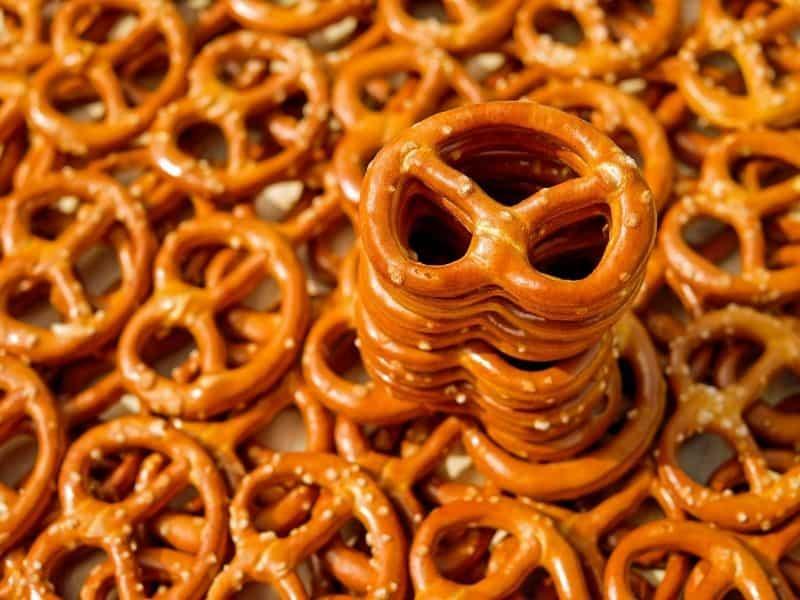 a stack of pretzels on a pile of pretzels