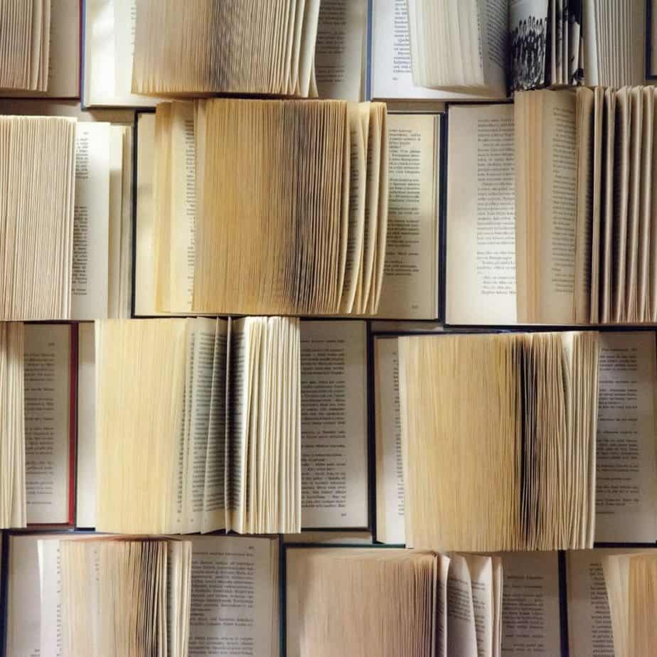 rows of books open to different pages