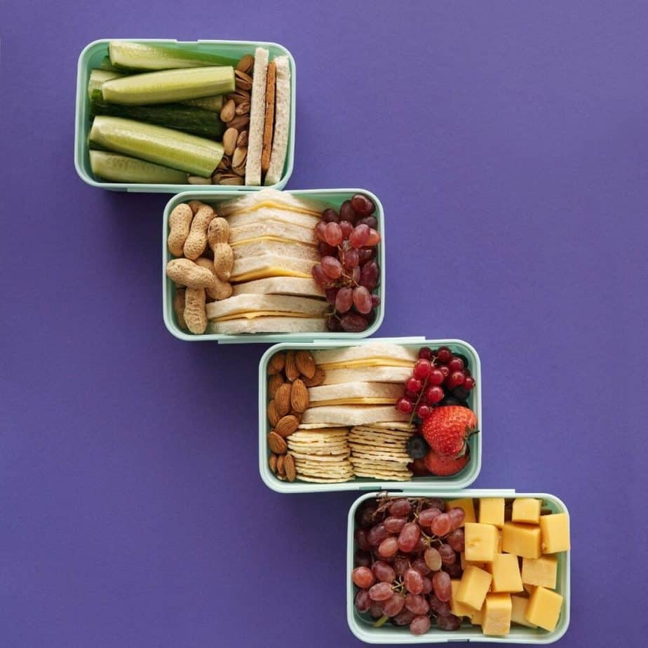 containers of food for monthly meal planning
