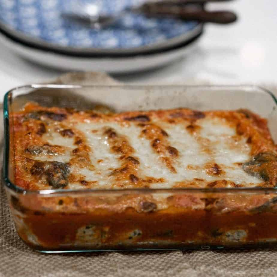 a pan of lasagna sitting on the counter