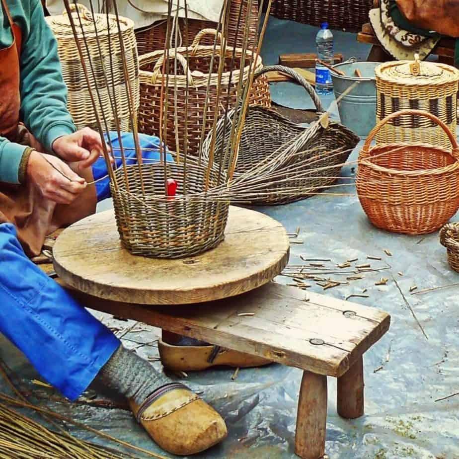 a person making a basket