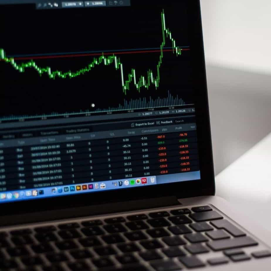 a laptop screen showing stock market graph