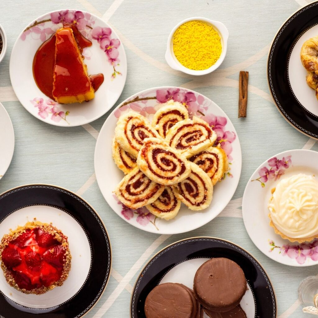 a table of different dessert plates