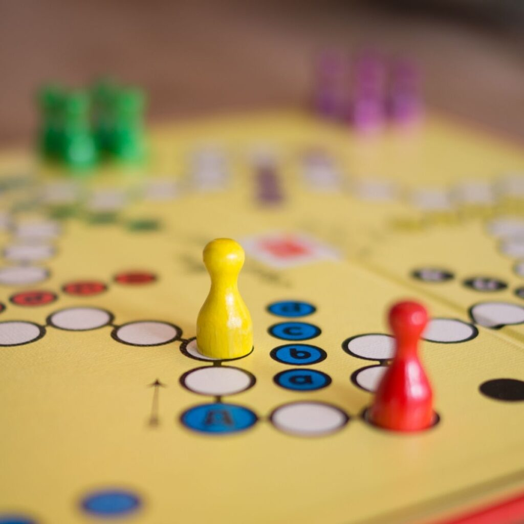 a boardgame with pieces on the board