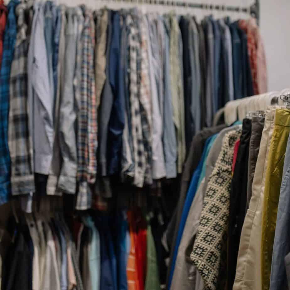 used clothes on racks