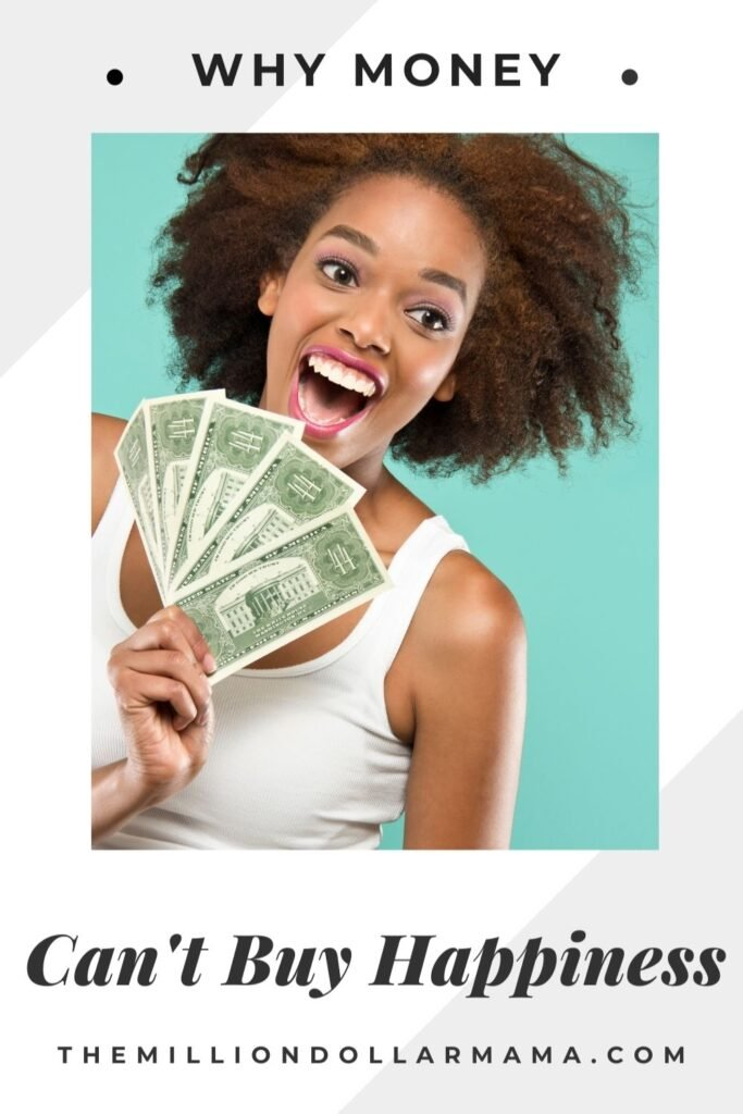 a woman fanning money smiling at the camera with text overlay