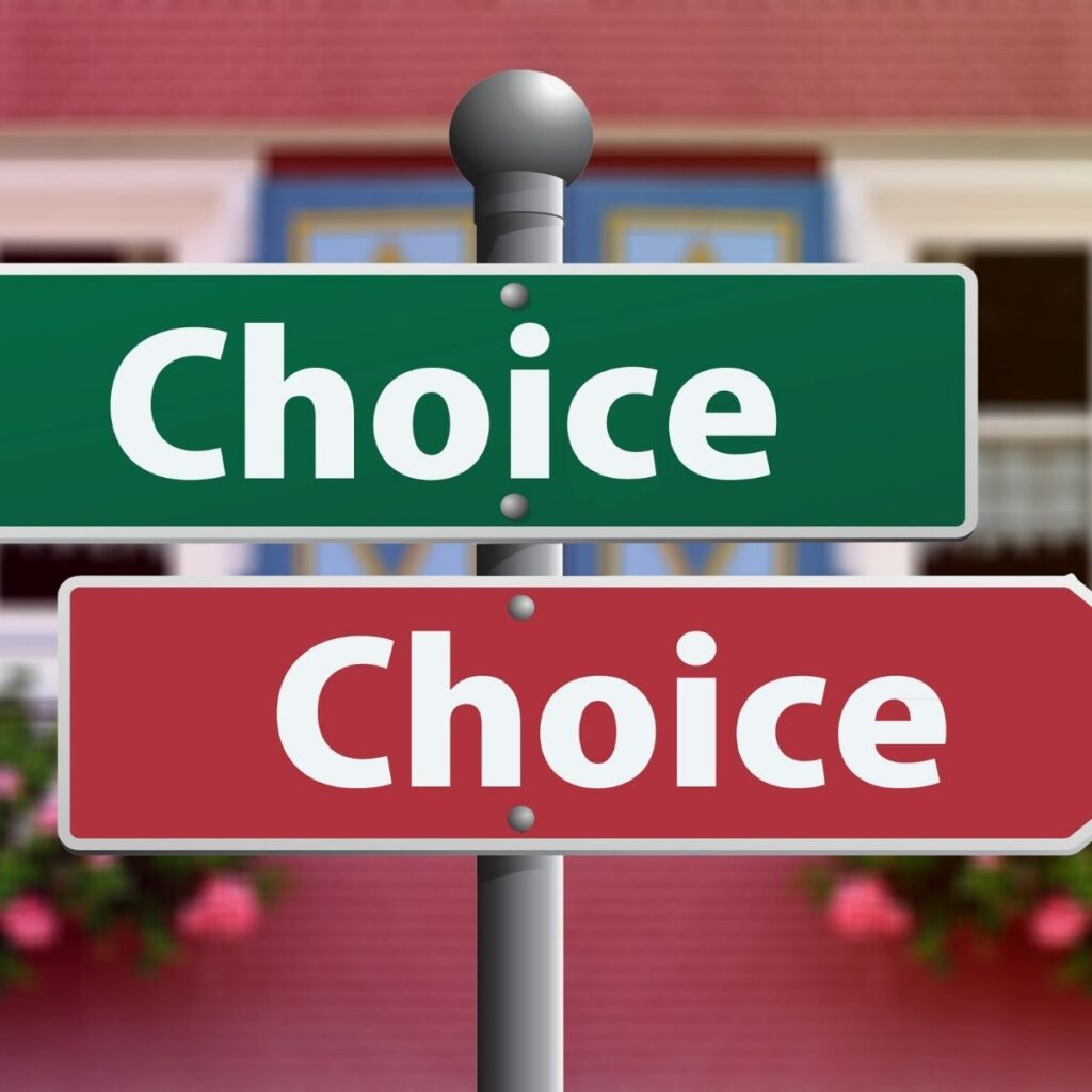 """a sign with the words 'choice"""" in red and green"""