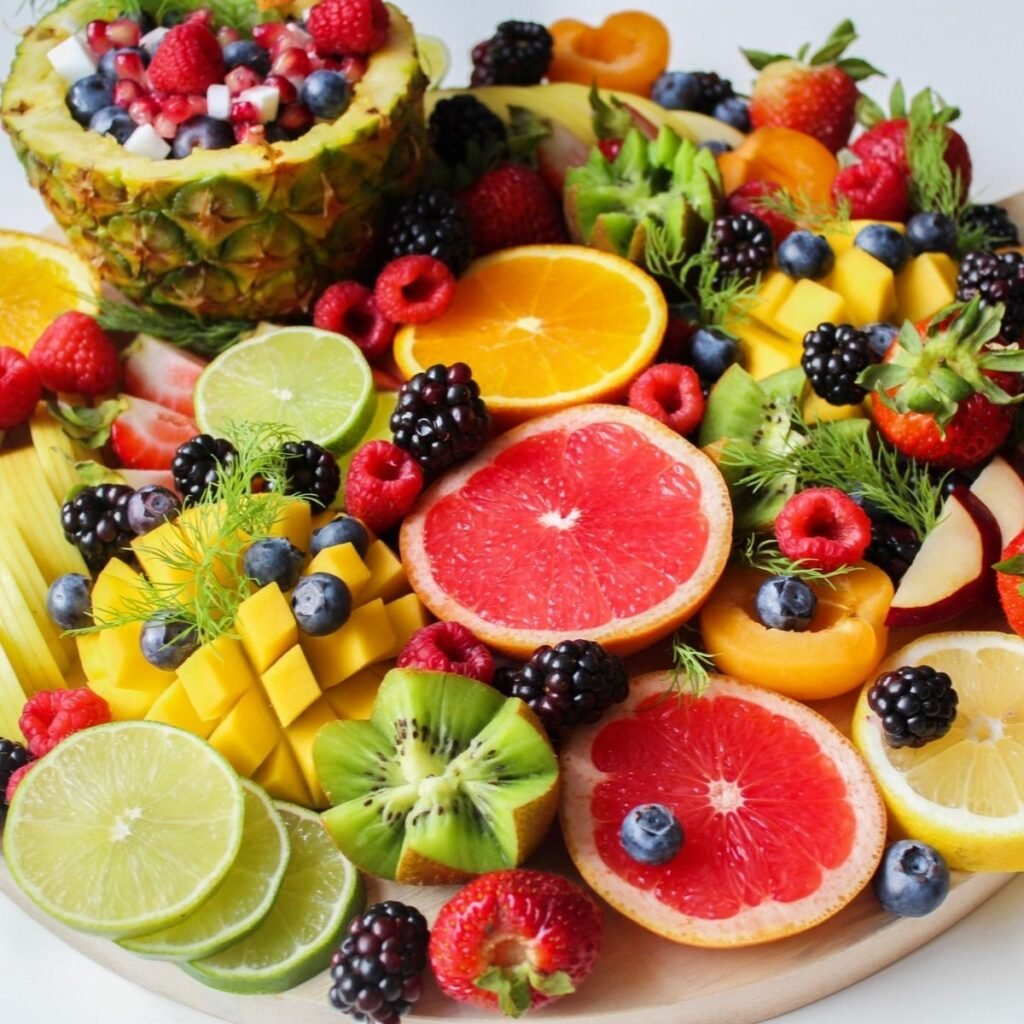 a plate of fresh fruit