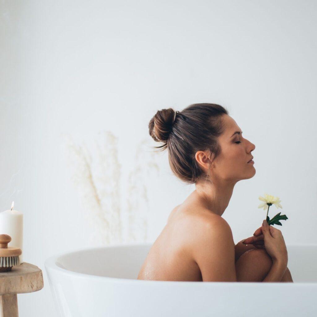 a woman in a bathtub
