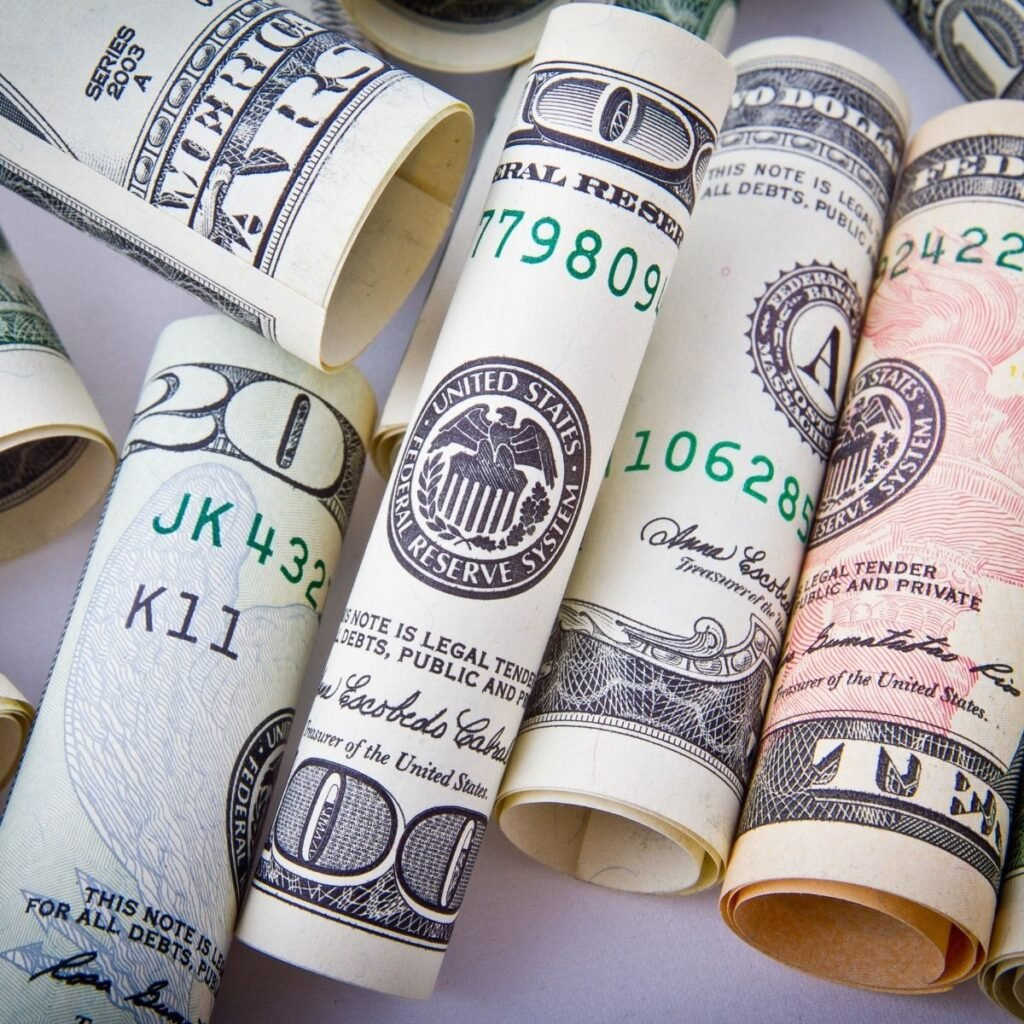 rolls of ten and twenty dollar bills