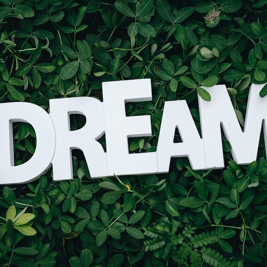 """the words """"dream"""" in green plants"""