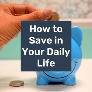 a hand putting a coin in a blue piggy bank with text overlay