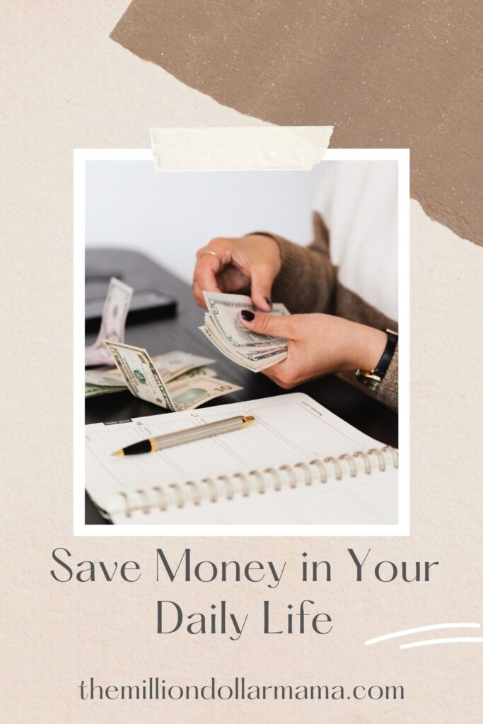 woman counting money over a notebook with text overlay