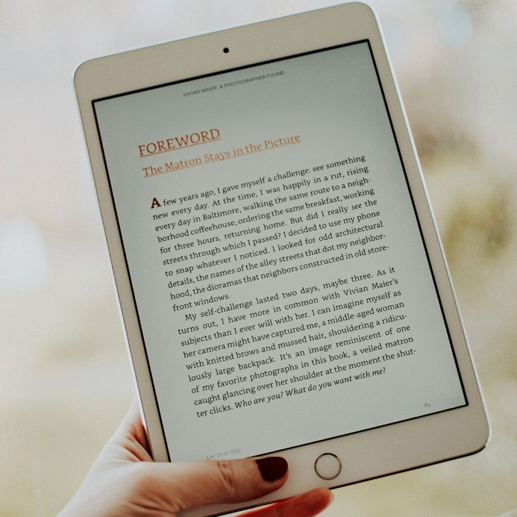 a kindle with an ebook pulled up